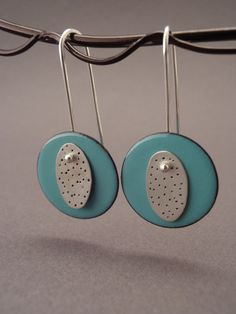 Silver and Enameled Copper Earrings. $40.00, via Etsy.
