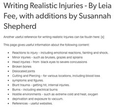 Resources & Research - Writing Realistic Injuries