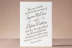 """Just My Type"" - Modern, Simple Letterpress Wedding Invitations in Navy by Ann Gardner."