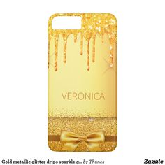 Shop Gold metallic glitter drips sparkle golden name Case-Mate iPhone case created by Thunes. Iphone 6 Plus Case, Iphone Case Covers, Golden Glitter, Gold Paint, Apple Iphone, Christmas Gifts, Metallic, Sparkle, Phones