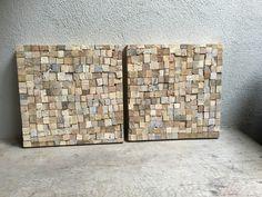 Landelijke vergrijsd houten wandpaneel tegel drijfhout driftwood sloophout 35x 35