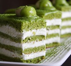 Matcha-Almond Génoise Layer Cake - The coloring is beautiful... not sure how a combination of matcha (Japanese green tea) and almonds would taste though...
