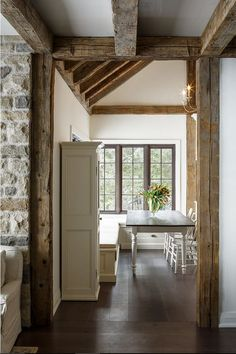 French Cottage with stone walls and reclaimed timber. Astro Design Centre.