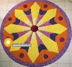 Rangoli Designs Flower, Rangoli Designs Images, Flower Rangoli, Onam Pookalam Design, Onam Wishes, Onam Festival, Kinds Of Colors, Floor Art, Types Of Flowers
