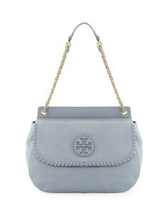 TORY BURCH Marion Leather Saddle Bag in Powder Blue