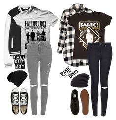 """FOB or P!ATD"" by alex-bows ❤ liked on Polyvore featuring MANGO, Topshop, Converse, Vans and Leith"