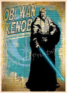 Star Wars - Obi Wan Kenobi - Vintage Silhouette print - Retro Star Wars Art - Dictionary print art