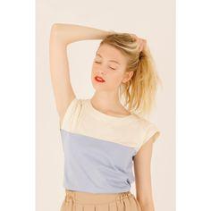T-shirt bicolore con taschini Abbigliamento Donna Made in Italy