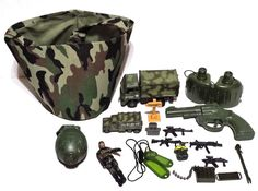 Army Military Toys Soldier, Camo Trucks, Guns, Grenade, Binoculars, Dog Tags #Unbranded
