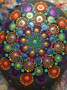 Mandala Stone  Hand Painted Dot Art  Dot Painting  Painted