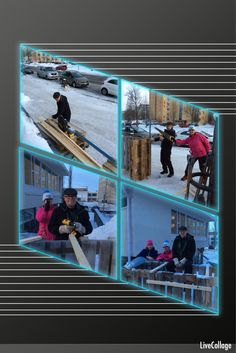 Vuoden 2016 Lumibaarin rakentajat. Paikka oli astetta parempi ja homma sujui joutuisasti.