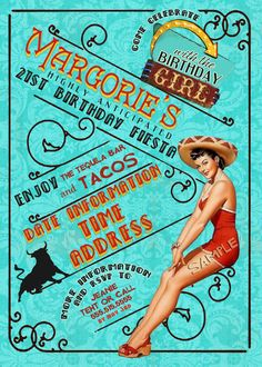 Mexican Fiesta Pin Up Girl Invitation Tequila cinco de mayo mechanical bull Bachelorette party Hens night Lingerie Shower Birthday invite
