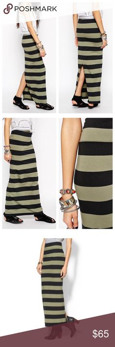 "Free People Stripe Maxi Skirt🆕 Free People Stripe Column Knit Jersey Maxi Skirt.  95% cotton, 5% spandex.   Skirt measures approx 42"" length. Elastic waist 14-1/2"" unstretched.  Partially lined.  Back slit accent. Machine washable.   Army/Washed Black  Never worn.  New without tags. Free People Skirts"