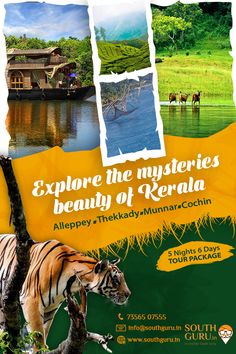 Explore the Mysteries Beauty of Kerala Alleppey Thekkady Munnar Cochin 5 Nights 6 Days Tour Package Book Now Call us : 7356507555 Mail us: info Travel Destinations Beach, Travel Tours, Travel And Tourism, Travel Agency, Travel Brochure Design, Travel Brochure Template, Tourist Places, Places To Travel, Places To Visit