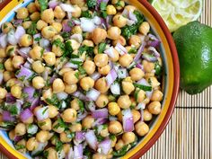 This cumin lime chickpea salad has buttery chickpeas, red onion, cilantro, and a homemade cumin lime dressing.