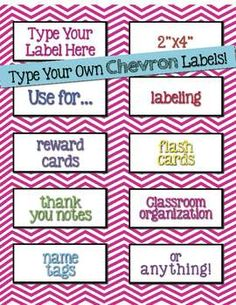 Labels Chevron Editable {2x4 Avery 5163} | Chevron labels