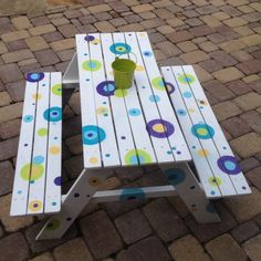 childrens picnic table painted | Just finished painting old children's picnic table.