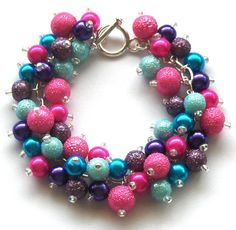 Bright Pearl Cluster Bracelet Blue Pink Purple and by beadingshaz, £15.00