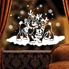 Kinderzimmerdekoration - Aufkleber Fensterbild Verliebt Elche Schnee (weiß) - ein Designerstück von wandtattoo-loft bei DaWanda