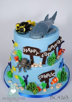 BC4263 2 tier whale shark scuba cake   Created by:  www.fortheloveofcake.ca  with locations in Toronto and Oakville