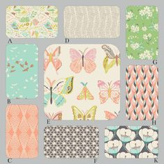 I love these colors for baby and toddler bedding!  Hues of mint, aqua, peach, coral, pink and gray.  www.rockytopdesign.com