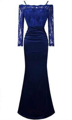 Sexy 3/4 Sleeve Lace Spaghetti Strap Evening Dresses 18 Blue #angelfashions #BallGown #Formal