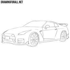 Gtr Drawing, Car Drawing Easy, Car Drawing Pencil, Easy Drawings, Nissan Skyline R35, Nissan Gtr Nismo, R35 Gtr, Skyline Gtr, Gtr Car