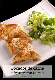 Receta de Bocados de carne picante con queso Carne Picada, Relleno, Queso, Meat, Chicken, Cooking, Food, Empanadas Recipe, Tomato Sauce