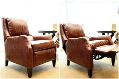 I found this cushy recliner first. I love that it looks like an unassuming club chair in the upright position. The slender arms are so much better than the oversized puffy or rounded ones you typically see on recliners.