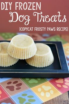 DIY Frozen Dog Treats Recipe- a copycat Frosty Paws Recipe with just two ingredients! This is the perfect way to spoil your dog in the summer and will cost WAY less than the store bought ones!
