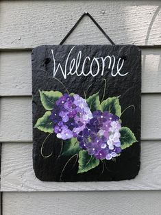Hand Painted Slate Welcome sign, Purple Hydrangeas welcome sign, Summer door decor, Door decoration, painted slate, Front Door decoration