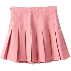 Yasong Women Girls Short High Waist Pleated Skater Tennis Skirt School... ($18) ❤ liked on Polyvore featuring skirts and pink