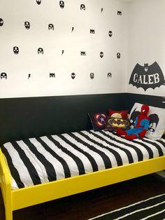 Superhero wall Batman themed bedroom Black white and yellow bedroom Boys Superhero Bedroom, Batman Bedroom, Boys Bedroom Themes, Bedroom Colors, Kids Bedroom, Bedroom Decor, Bedroom Ideas, Boy Rooms, Bedroom Storage
