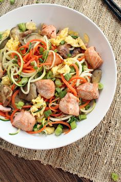 Ginger Garlic Salmon Carrot and Zucchini Noodle Bowl with Shiitake and Oyster Mushrooms