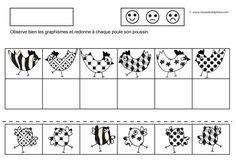 Le même exercice que précédemment mais avec d'autres graphismes et avec des poussins, non des oeufs. - PS Poules discrimination visuelle2.pdf