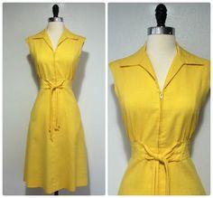 Autumn Fills With Sunshine Delight • Vintage Yellow Linen Dress • 1970s Tye Waist Details • 70s Sporty Tennis Dress • Hidden Pockets