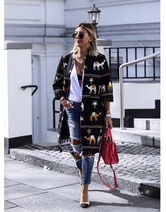 camel coat + jeans