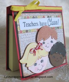 cricut paper dolls, hmmmm... this card with end of year gifts. Too cute!