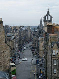 The Royal Mile from the castle, Edinburgh, Scotland. Scotland Vacation, Scotland Travel, Scotland Tourism, Scotland Uk, Edinburgh Scotland, Dream Vacations, Vacation Spots, Edinburgh City, Visit Edinburgh