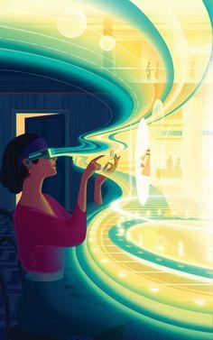 Sam Chivers Illustrations - Science Fiction, retro, etc - Technology Virtual Reality Education, Augmented Virtual Reality, Virtual Reality Systems, Flat Illustration, Digital Illustration, Vector Illustrations, Vector Art, Serious Game, Science Fiction