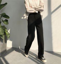 パンツ/デニム - おしゃれ無地ハイウエストカジュアルパンツ
