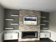 5 Best Decor Ideas for Your Fireplace – Voyage Afield Tv Above Fireplace, Linear Fireplace, Wooden Fireplace, Fireplace Shelves, Fireplace Built Ins, Home Fireplace, Living Room With Fireplace, Fireplace Design, My Living Room