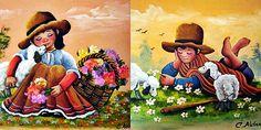 """""""Cholitos""""...Pintura peruana... pintor C. Aldana..."""