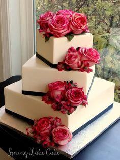 white wedding cake with hot pink blooms  ~  we ❤ this! moncheribridals.com #weddingcake