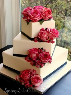 white wedding cake with hot pink blooms  ~  we ❤ this! moncheribridals.com #weddingcake
