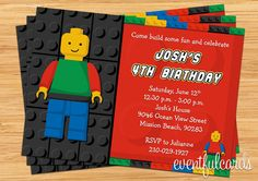 Lego Birthday Party Invitation  Printable by eventfulcards on Etsy, $15.99
