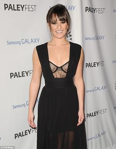 Cut-out cutie: Lea Michele slipped into a  bra-top gown at the PaleyFest Icon Award show honoring series creator Ryan Murphy in Beverly Hills Wednesday night