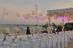 Paper lanterns over a long table