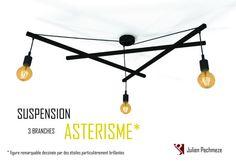 Luminaria industrial ASTERISM  3 bulbos negro mate