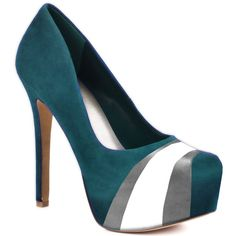 HERSTAR™ Turquoise Grey White Team Color Suede Pumps! EAGLES HEELS I NEED THESE!!!!